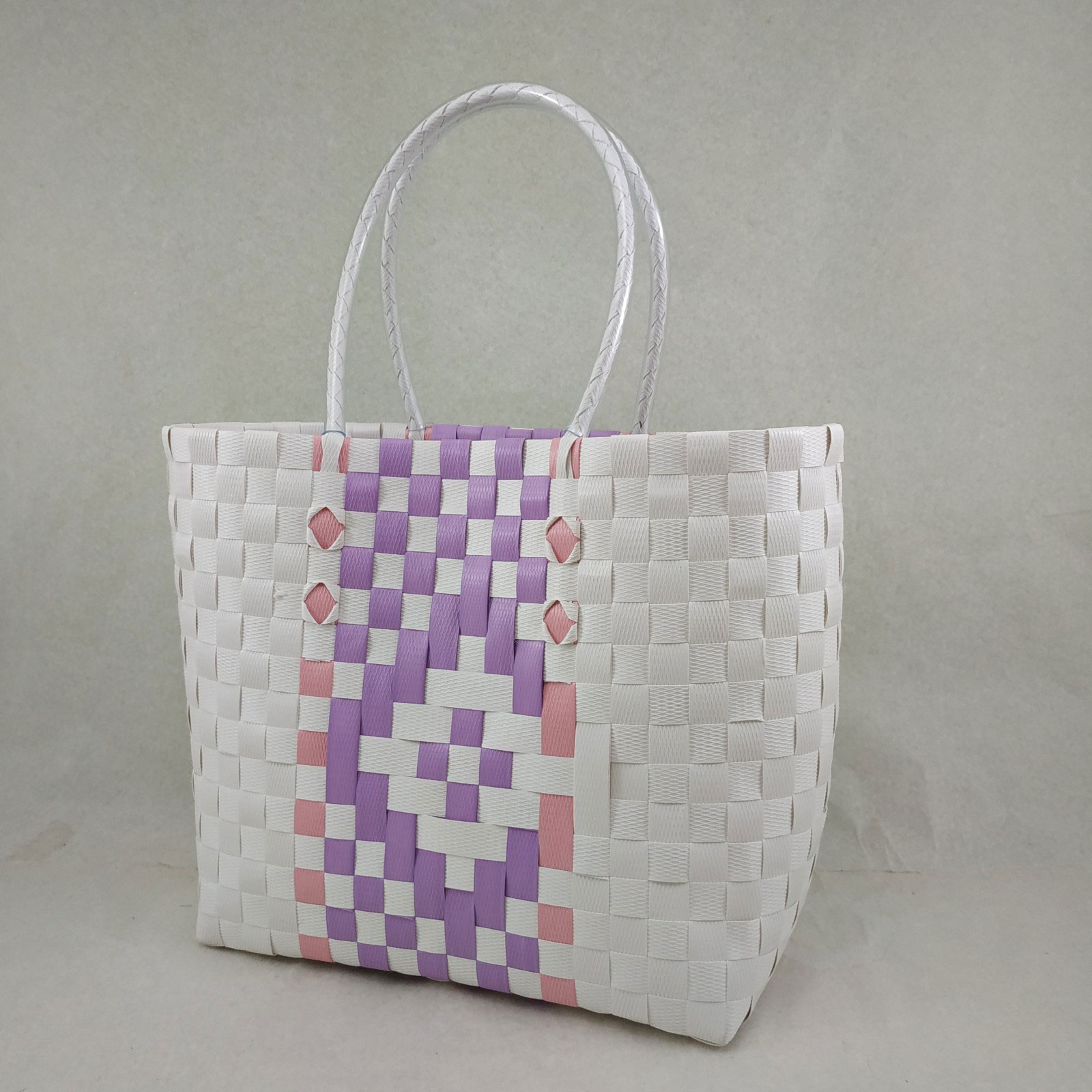 Tote Bag: White, Pink & Purple