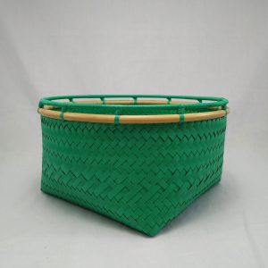 Rattan Rim Basket: Green